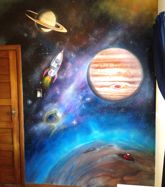 Space mural for a kids bedroom